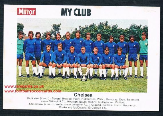 1970 My Club Daily Mirror postcard-size card Chelsea